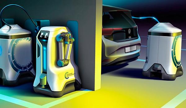Volkswagen presenta su robot autónomo para recargar coches eléctricos en el futuro
