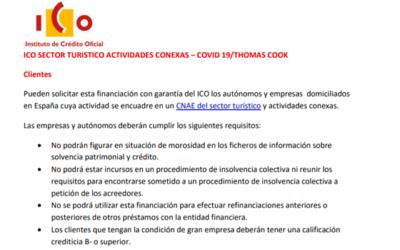 ICO sector turístico actividades conexas – COVID19 / THOMAS COOK